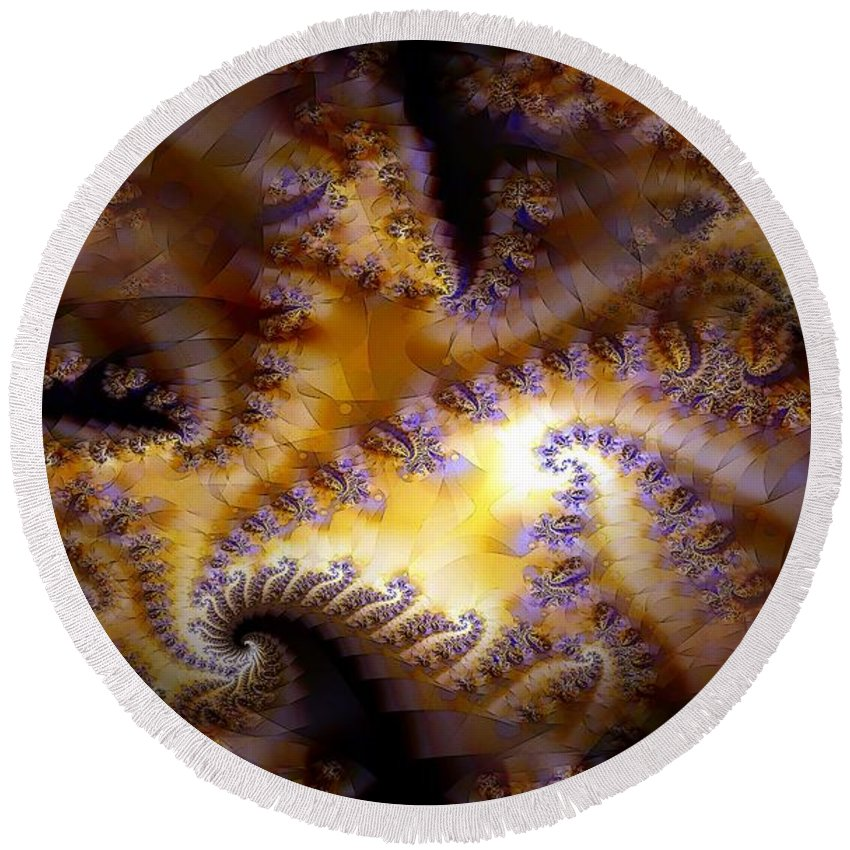 Fractal Round Beach Towel featuring the digital art Inner Light by Ron Bissett