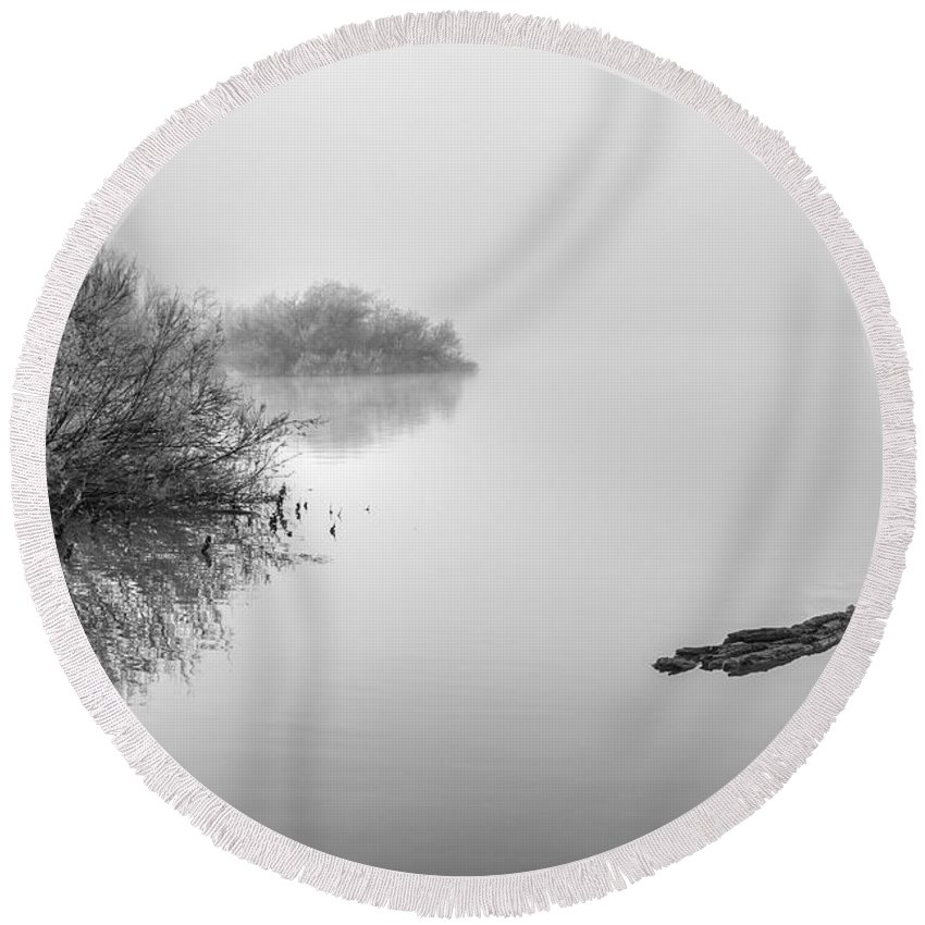 Monochrome Round Beach Towel featuring the photograph Into The Fog by Guido Montanes Castillo