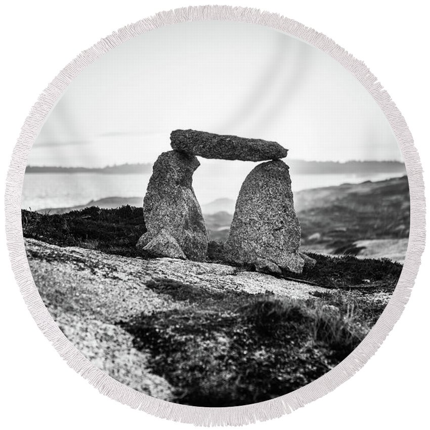 Terence Bay Round Beach Towel featuring the photograph Inukshuk At Sunset, Terence Bay, Nova Scotia by Mike Organ