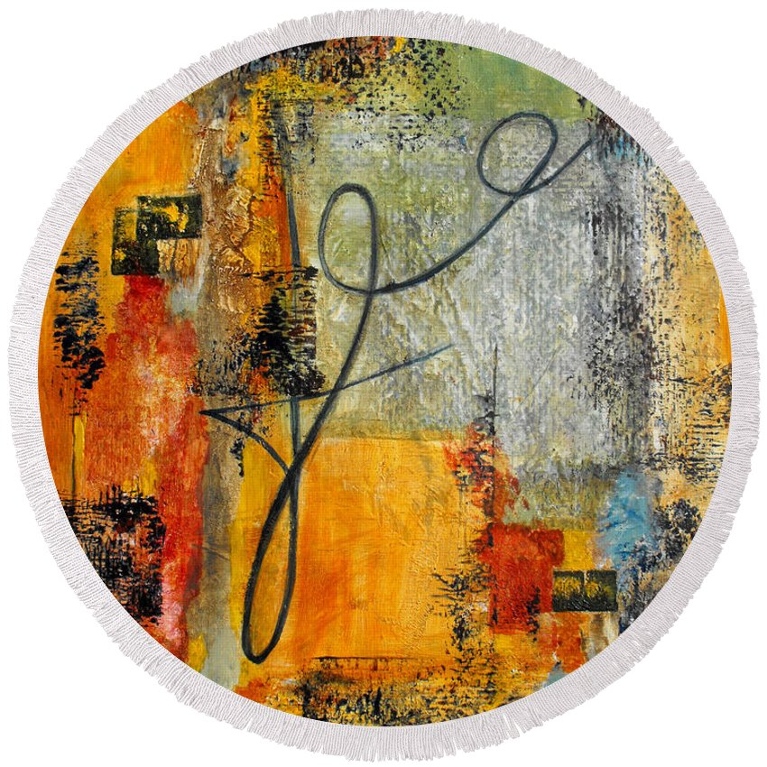 Abstract Round Beach Towel featuring the painting Invitation To Dance by Ruth Palmer
