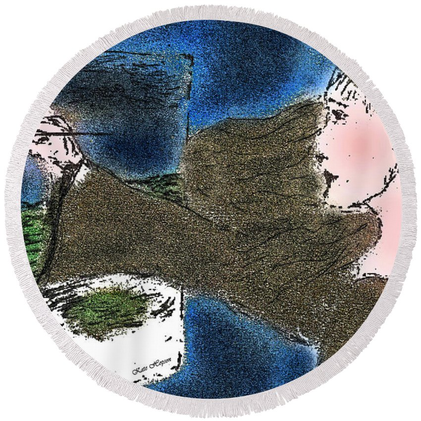 Woman Painting Round Beach Towel featuring the painting Ireland by Kate Hopson