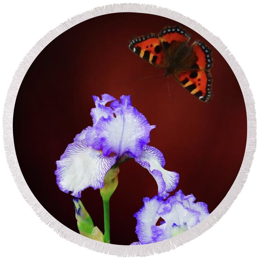 Iris Round Beach Towel featuring the digital art Iris And Butterfly by Suzanne Handel
