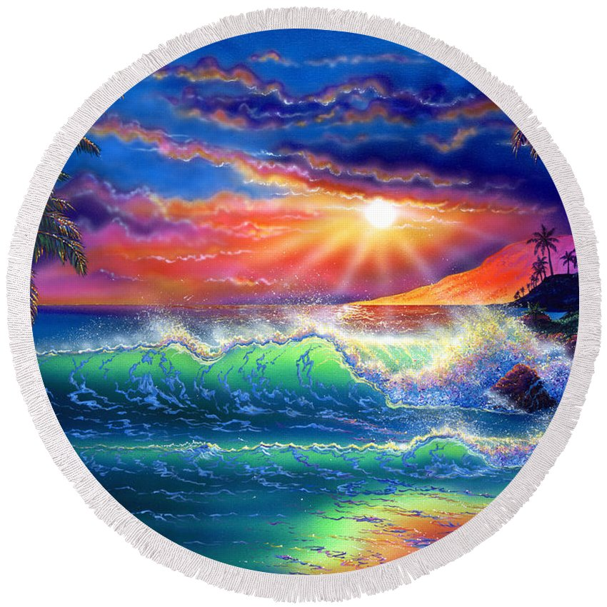 Seascape Round Beach Towel featuring the painting Island Paradise by Angie Hamlin