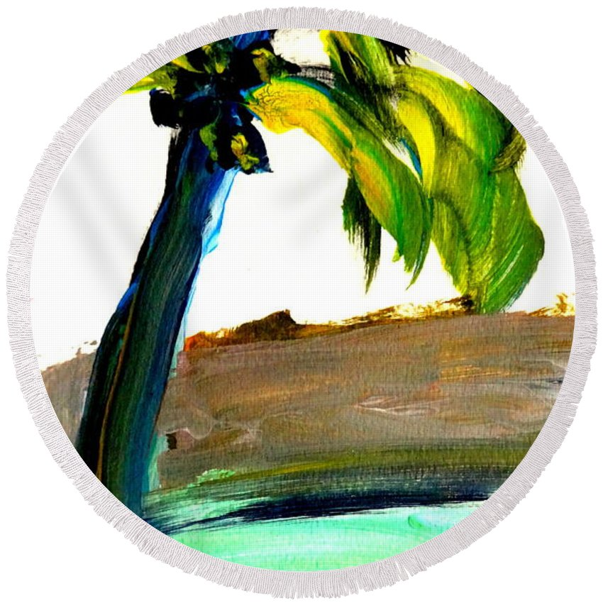 Palm Tree Round Beach Towel featuring the painting Island Time by Fred Wilson