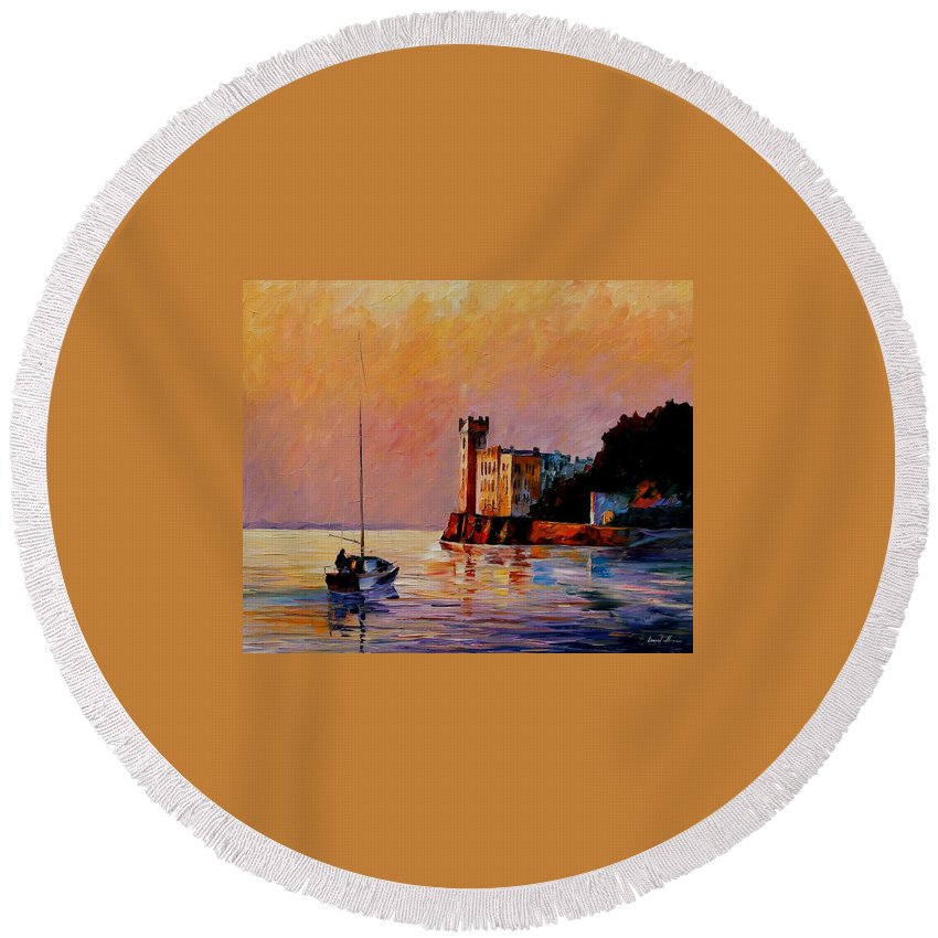 Afremov Round Beach Towel featuring the painting Italy - Trieste Gulf by Leonid Afremov