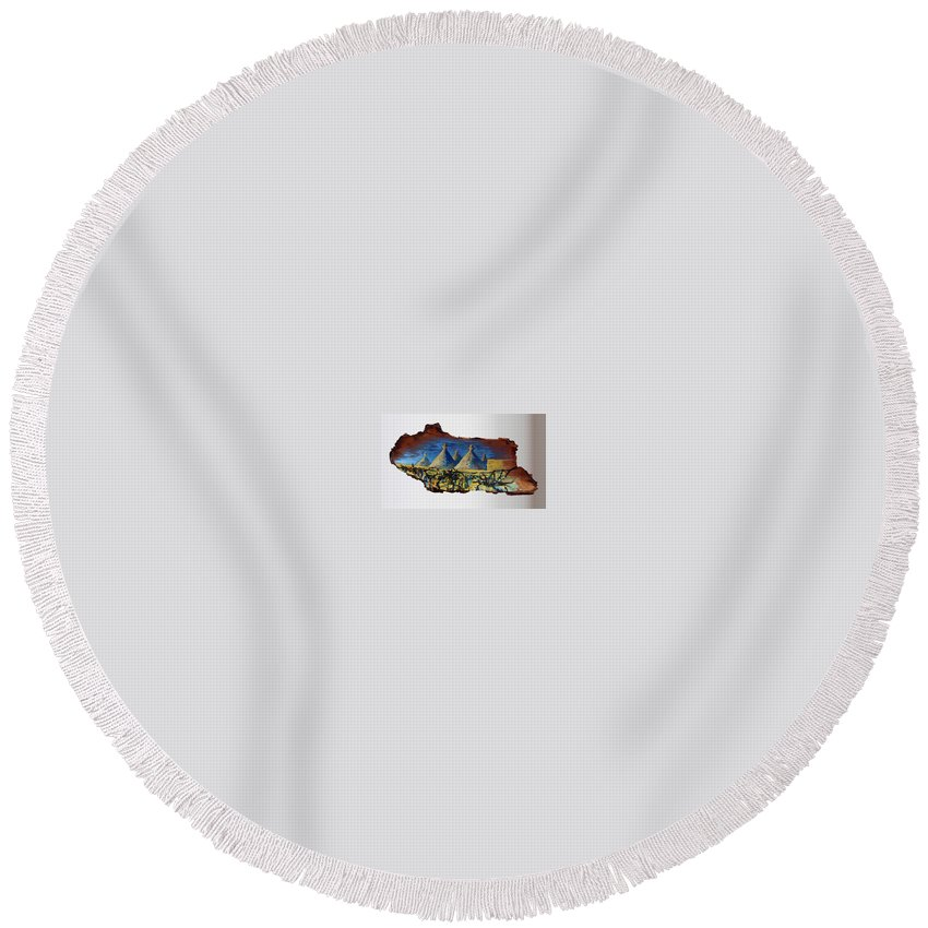 Landscape Round Beach Towel featuring the painting Italy Village by Pablo de Choros