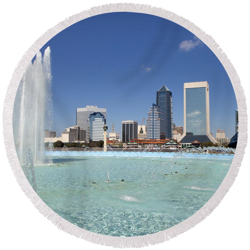 Blue Round Beach Towel featuring the photograph Jacksonville Florida by Anthony Totah
