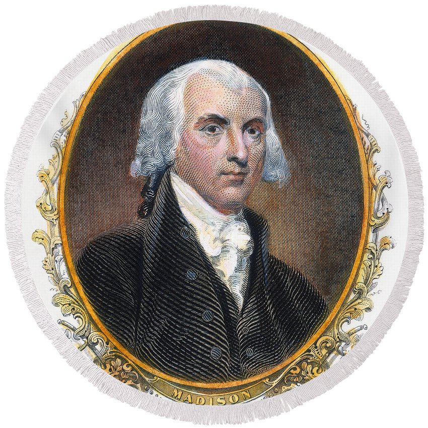 19th Century Round Beach Towel featuring the photograph James Madison (1751-1836) by Granger