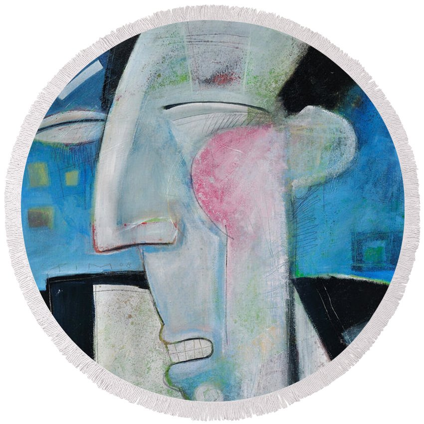 Jazz Round Beach Towel featuring the painting Jazz Face by Tim Nyberg