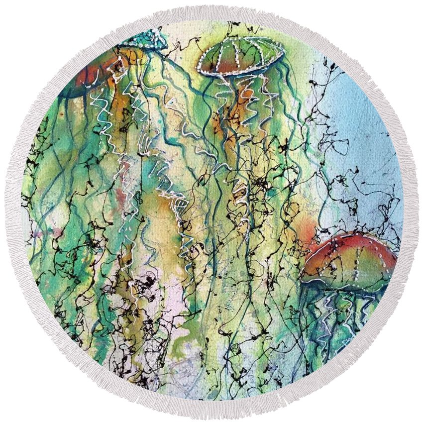 Jellyfish Round Beach Towel featuring the painting Jellyfish IIi by Midge Pippel