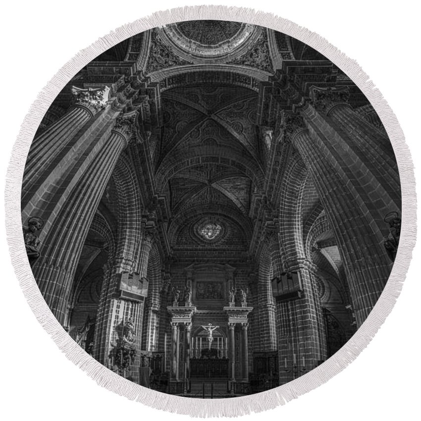 12mm F2 Round Beach Towel featuring the photograph Jerez De La Frontera Cathedral Dome From Inside Cadiz Spain by Pablo Avanzini