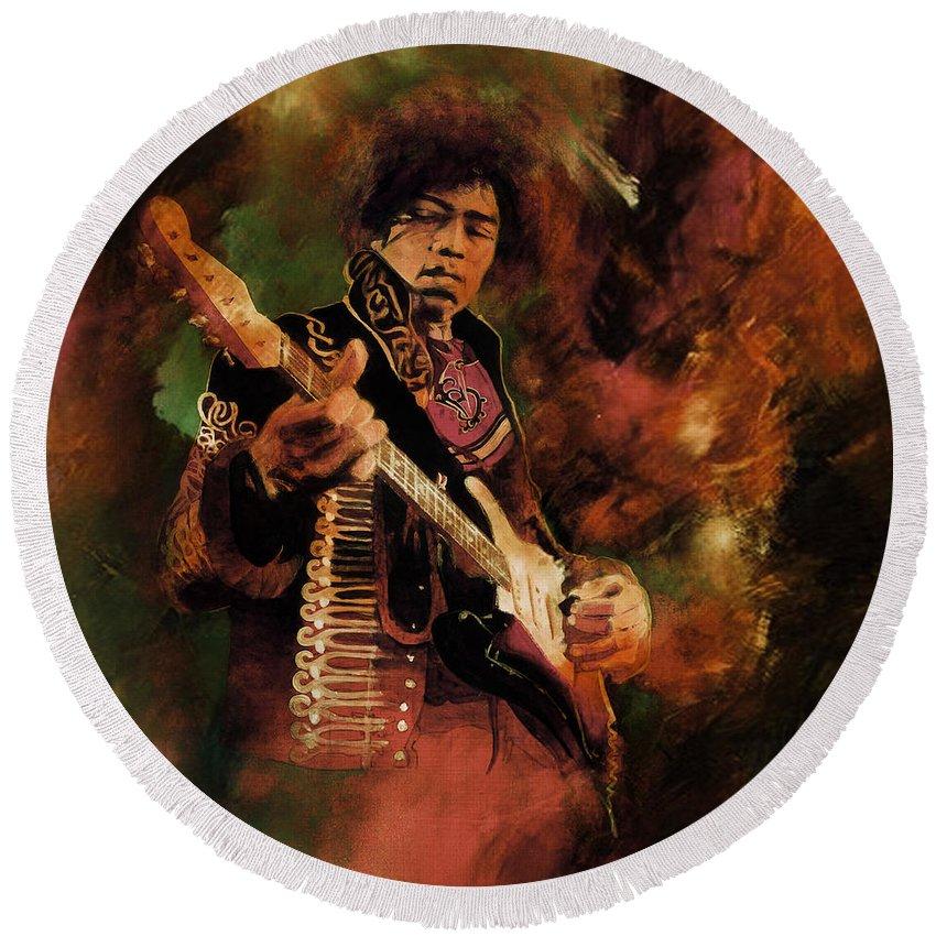 Jimi Hendrix Round Beach Towel featuring the painting Jimi Hendrix 01 by Gull G