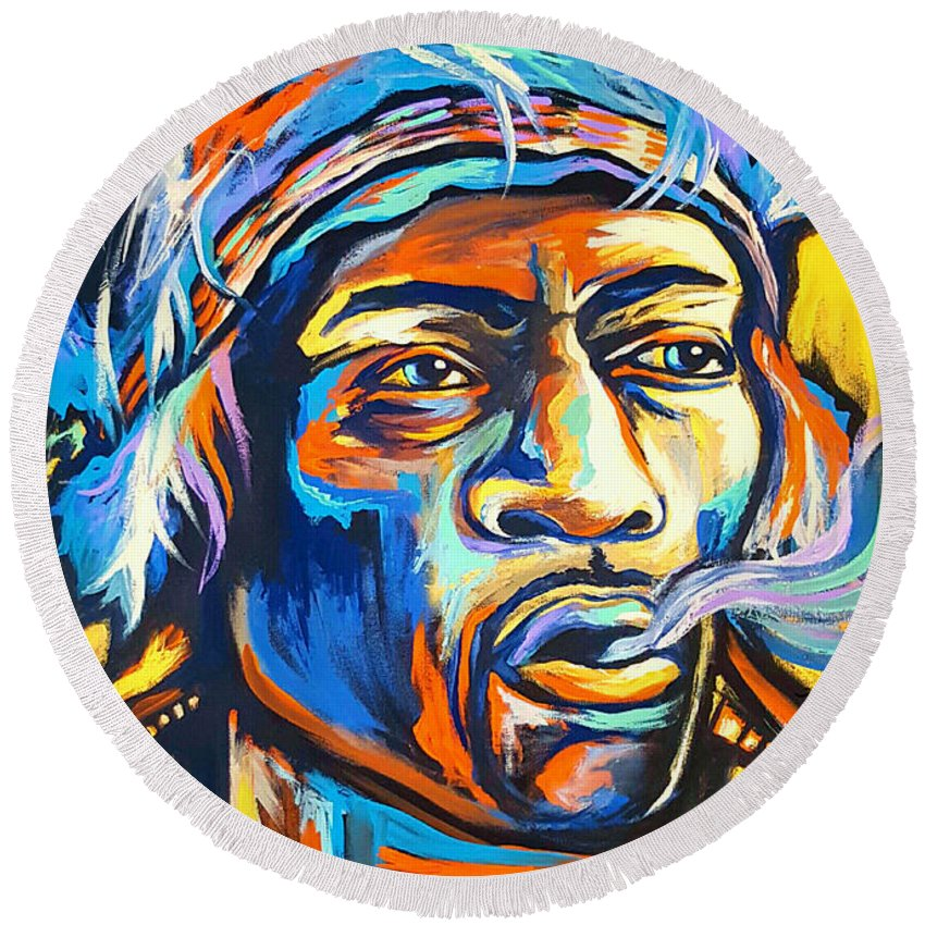 Jimi Round Beach Towel featuring the painting Jimi Hendrix by Amy Belonio