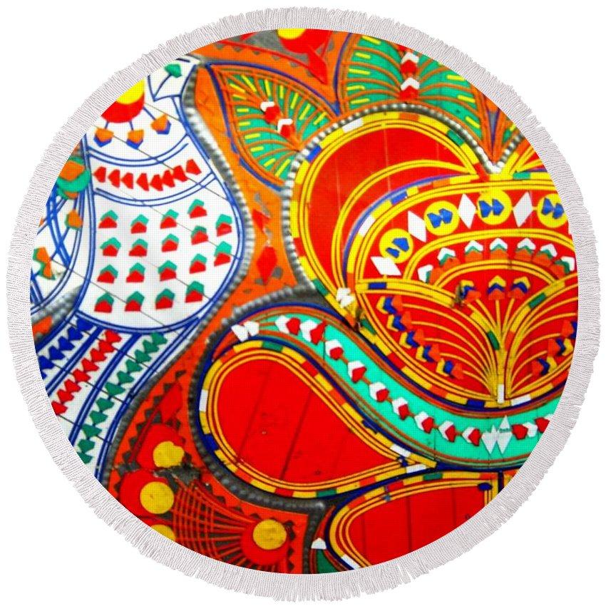 Fantasy Folk Art Round Beach Towel featuring the painting Jinga Bird by Fareeha Khawaja