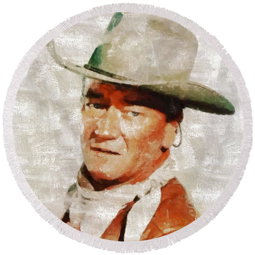 John Round Beach Towel featuring the painting John Wayne By Mary Bassett by Mary Bassett