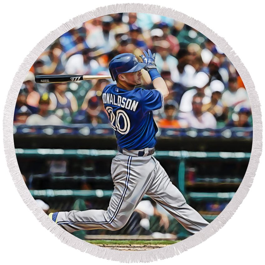 Josh Donaldson Round Beach Towel featuring the mixed media Josh Donaldson by Marvin Blaine