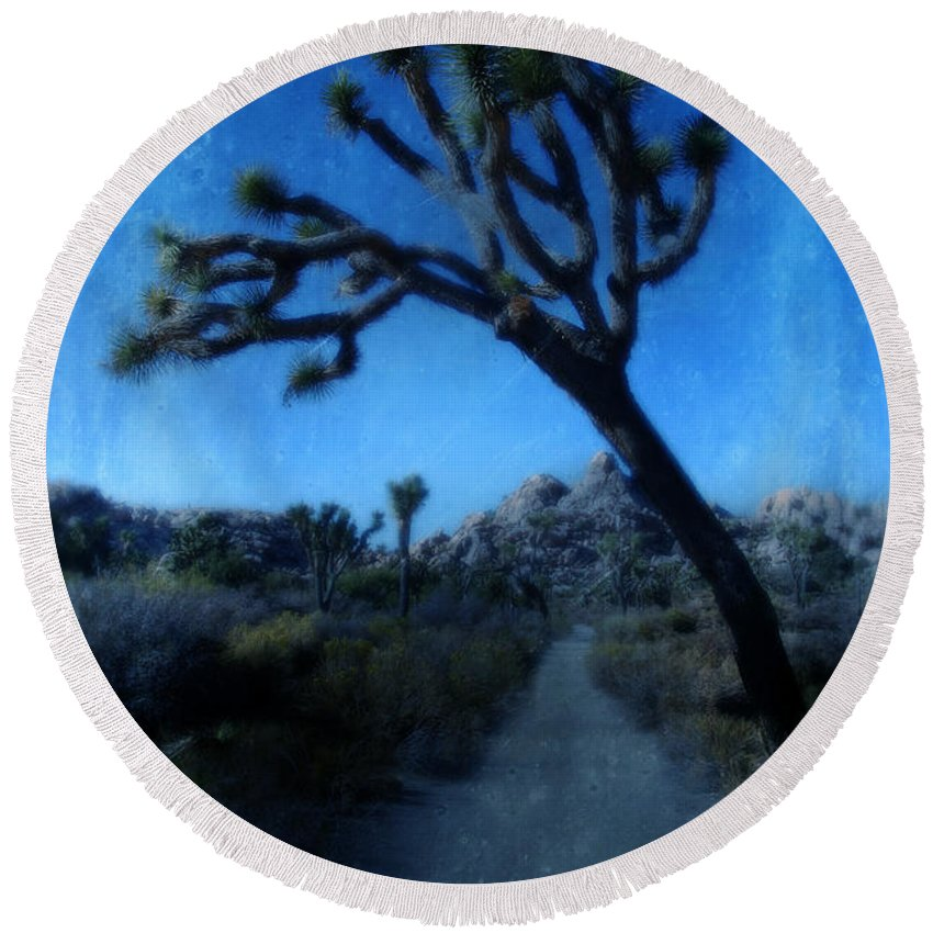 Joshua Tree Round Beach Towel featuring the photograph Joshua Trees At Night by Jill Battaglia