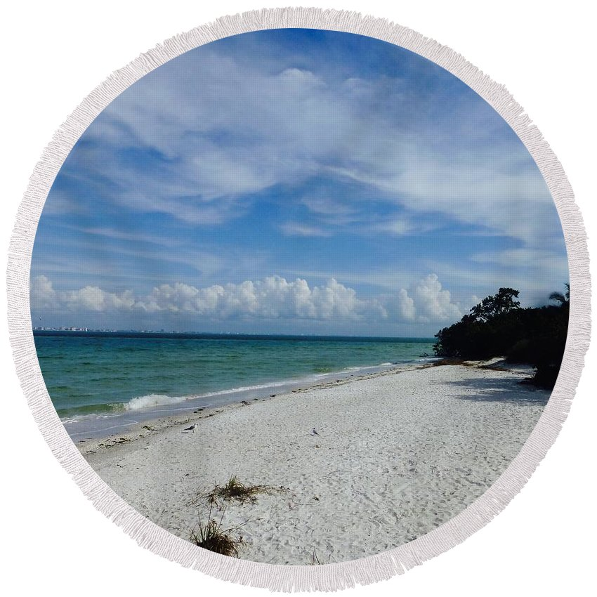 Sanibel Island Round Beach Towel featuring the photograph Just Another Day In Paradise by Lib Sargent