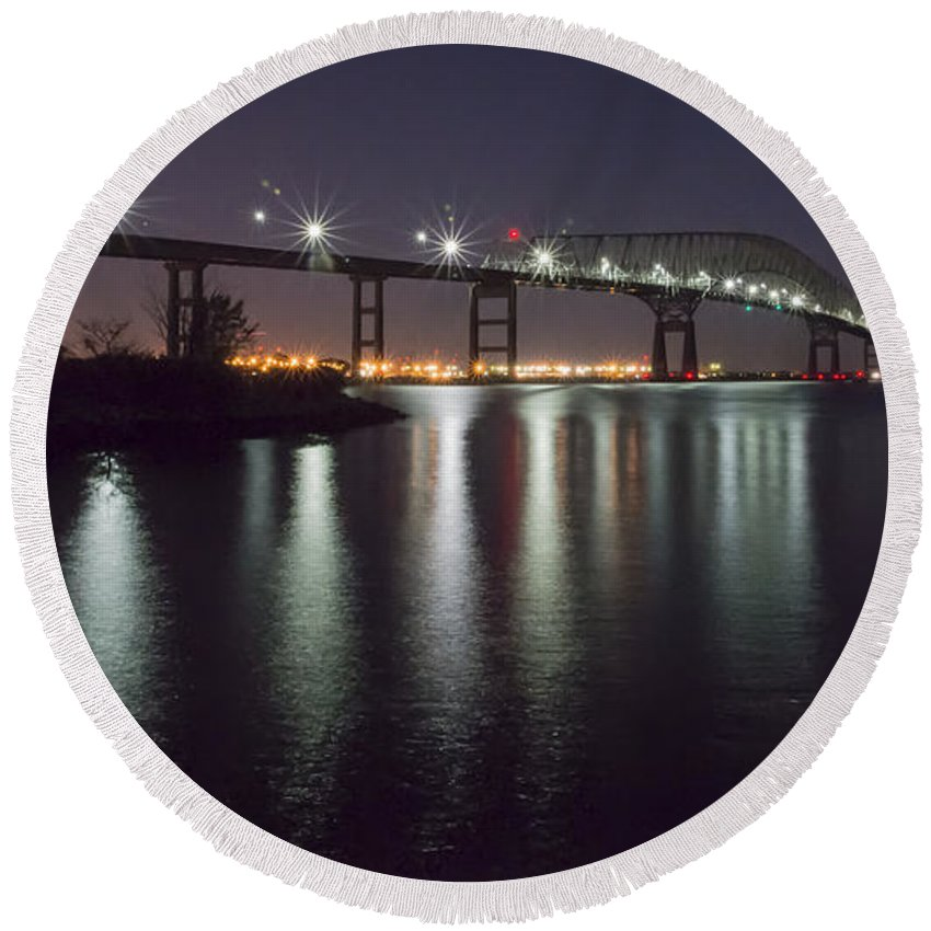 2d Round Beach Towel featuring the photograph Key Bridge At Night by Brian Wallace