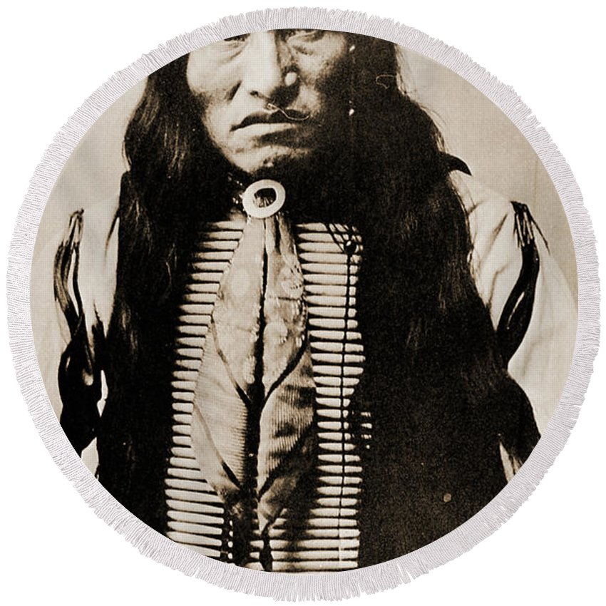 Native Round Beach Towel featuring the photograph Kicking Bear Indian Chief by Gary Wonning