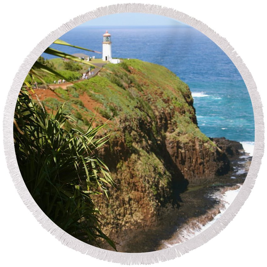 Lighthouse Round Beach Towel featuring the photograph Kilauea Lighthouse by Nadine Rippelmeyer