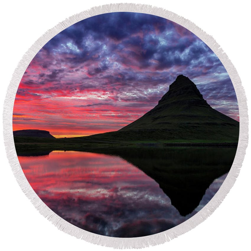 Iceland Round Beach Towel featuring the photograph Kirkjufell by Bragi Kort