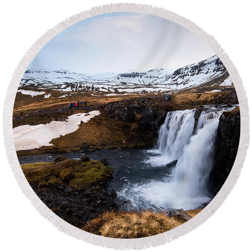 Kirkjufellsfoss Round Beach Towel featuring the photograph Kirkjufellsfoss Waterfalls Iceland by Michalakis Ppalis