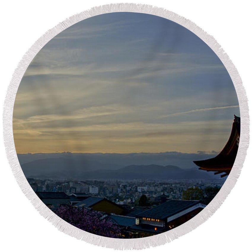 Kiyomizu-dera Round Beach Towel featuring the photograph Kiyomizu-dera by Brian Kamprath