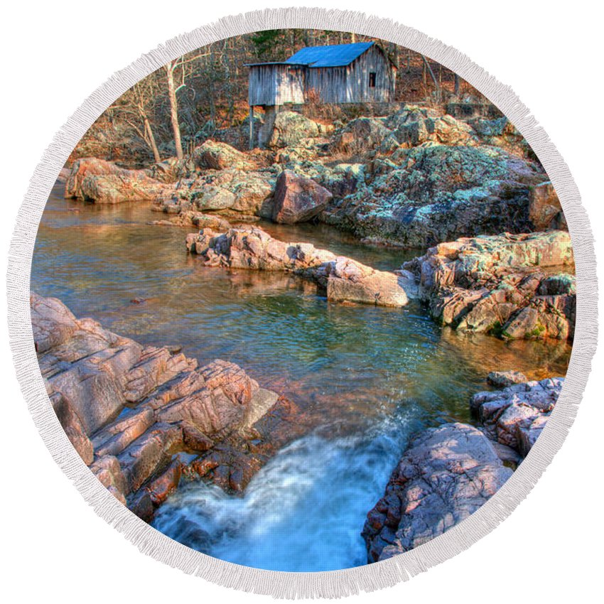 Missouri Round Beach Towel featuring the photograph Klepzig Mill by Steve Stuller
