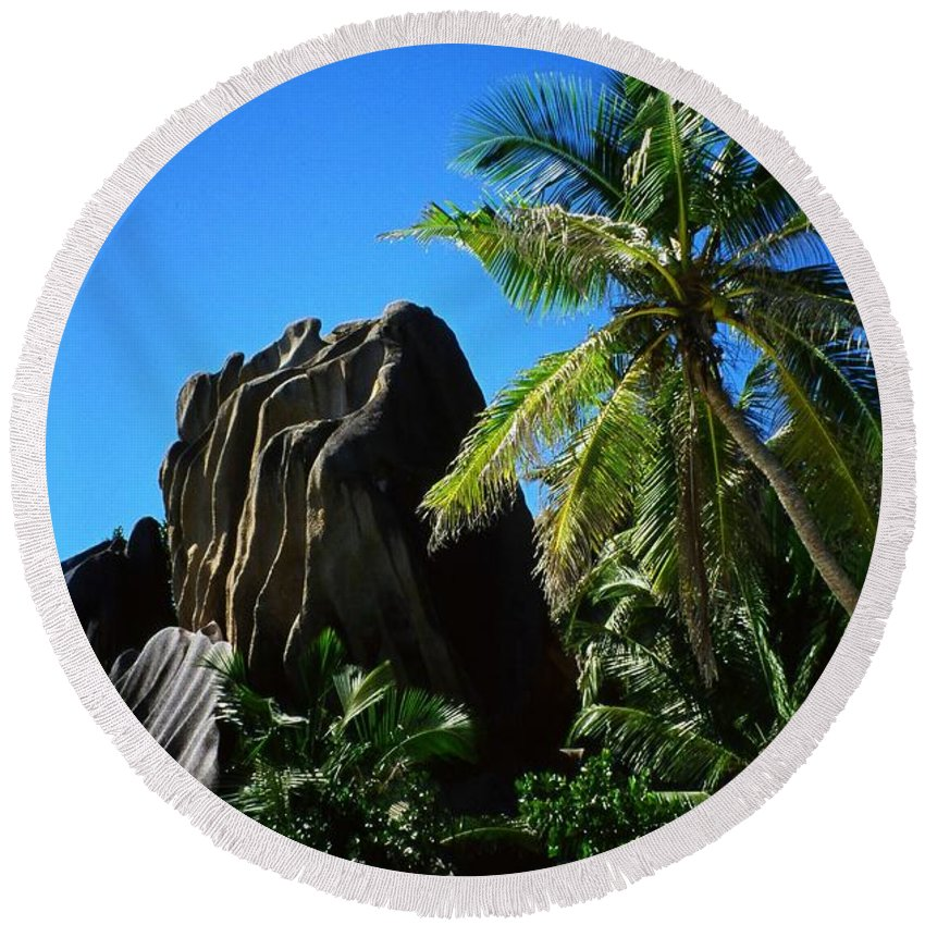 Indian Round Beach Towel featuring the photograph La Digue Island - Seychelles by Juergen Weiss