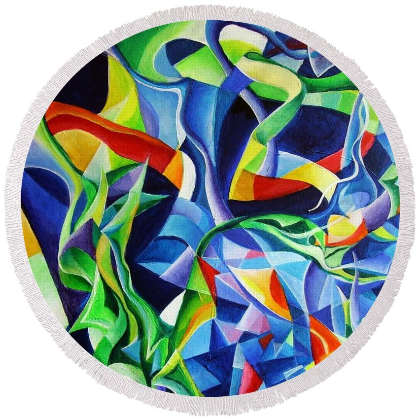 Claude Debussy Acrylic Abstract Pens Music Round Beach Towel featuring the painting La Mer by Wolfgang Schweizer