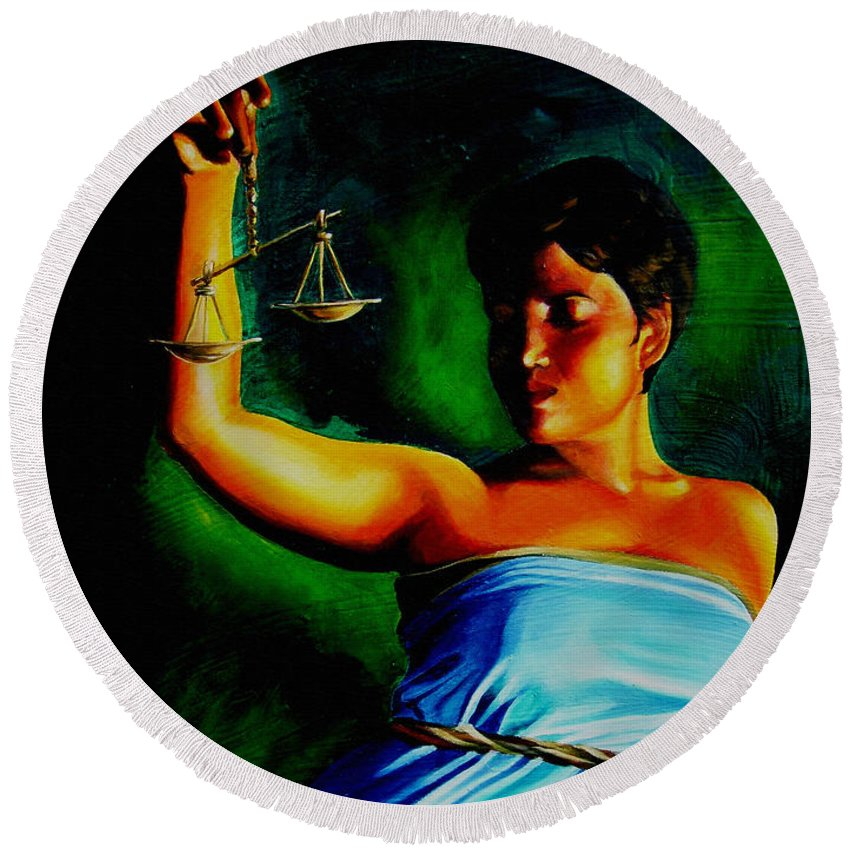 Law Art Round Beach Towel featuring the painting Lady Justice by Laura Pierre-Louis