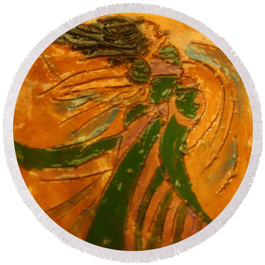 Jesus Round Beach Towel featuring the ceramic art Lady Sings - Tile by Gloria Ssali