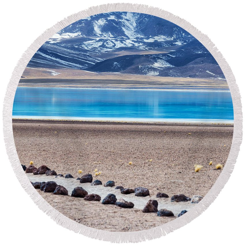 Miscanti Round Beach Towel featuring the photograph Lake Miscanti In Chile by Jess Kraft