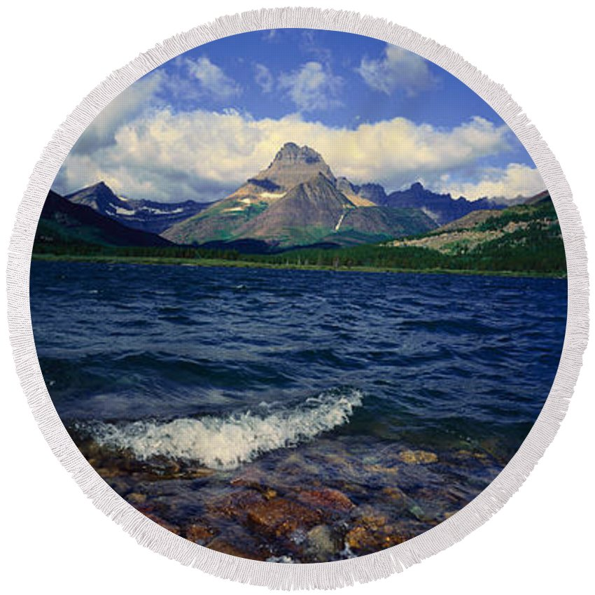Photography Round Beach Towel featuring the photograph Lake Sherburne, Glacier National Park by Panoramic Images