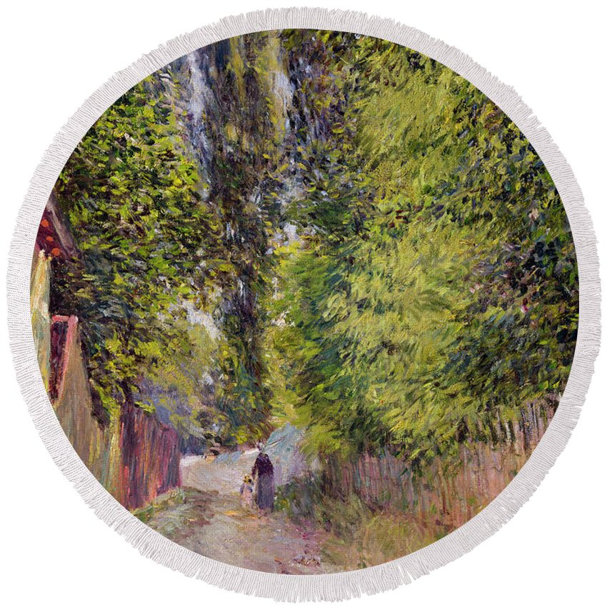 Landscape Round Beach Towel featuring the painting Landscape Near Louveciennes by Alfred Sisley