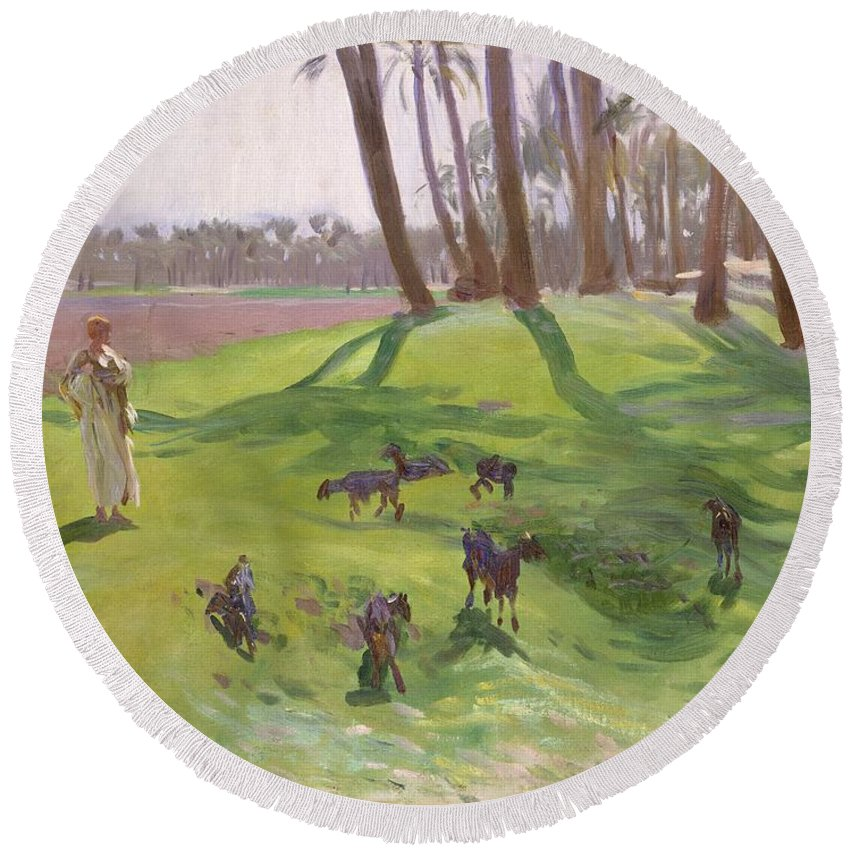 John Singer Sargent Round Beach Towel featuring the painting Landscape With Goatherd by John Singer Sargent