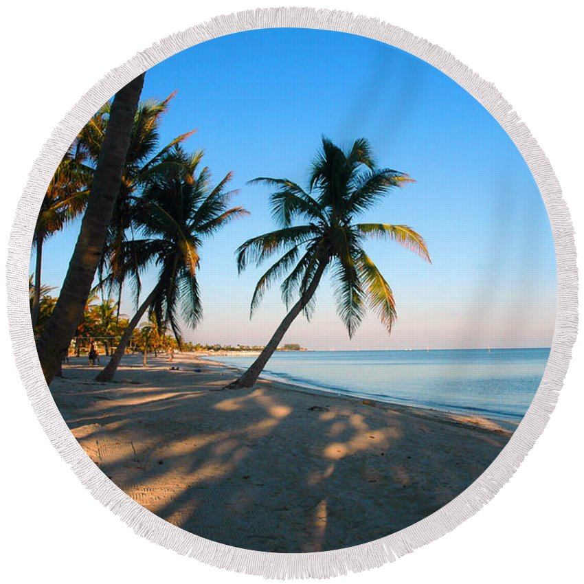 Photography Round Beach Towel featuring the photograph Last Sunbeams by Susanne Van Hulst