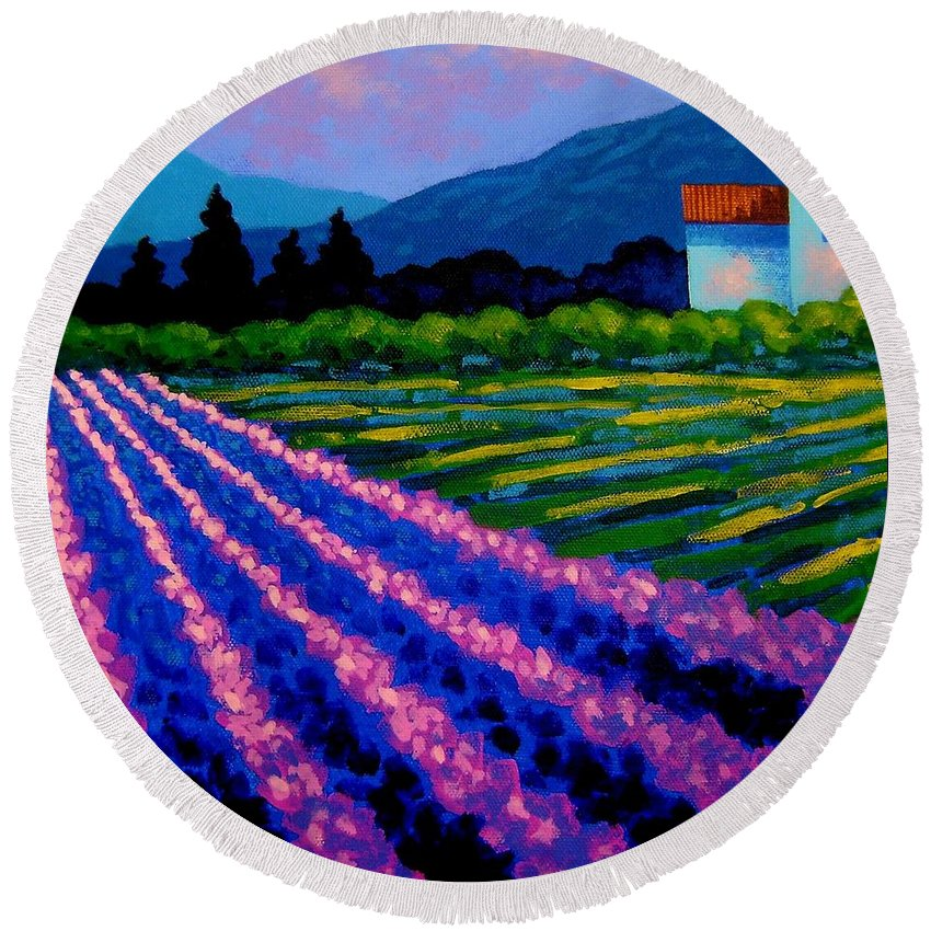 Landscape Round Beach Towel featuring the painting Lavender Field France by John Nolan