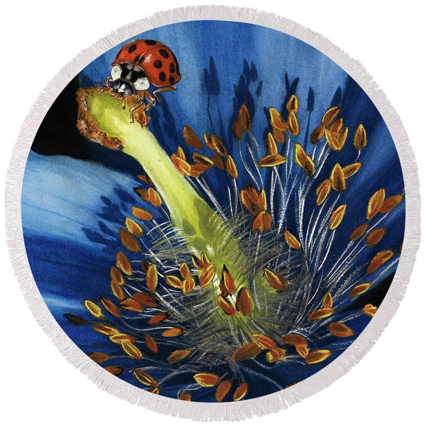 Flower Round Beach Towel featuring the painting Lazuline by Barbara Keith
