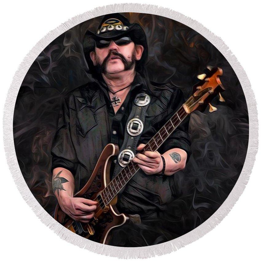 Lemmy Kilmister Round Beach Towel featuring the digital art Lemmy Kilmister With Guitar by Scott Wallace Digital Designs