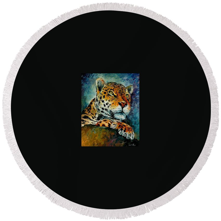 Animal Round Beach Towel featuring the painting Leopard by Leonid Afremov