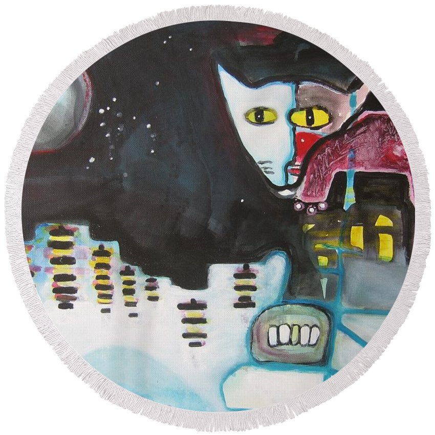 Cat Paintings Round Beach Towel featuring the painting Let Me Out3 by Seon-Jeong Kim