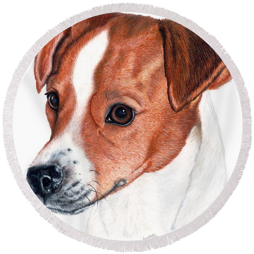 Jack Russell Terrier Round Beach Towel featuring the drawing Lewie by Kristen Wesch
