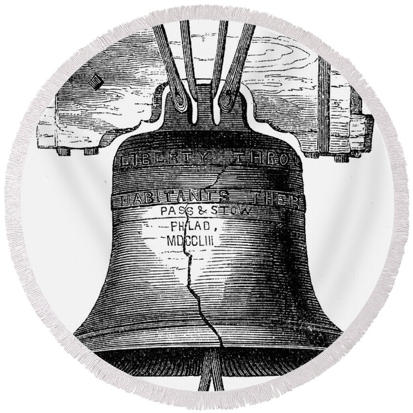 18th Century Round Beach Towel featuring the photograph Liberty Bell by Granger