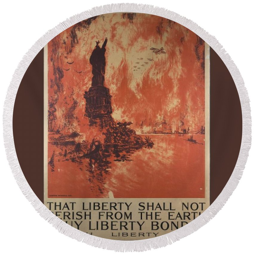 Flag Round Beach Towel featuring the digital art Liberty Shall Not Perish by Frederick Holiday