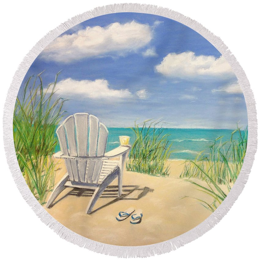 Beach Round Beach Towel featuring the photograph Life Is A Beach by Diane Diederich