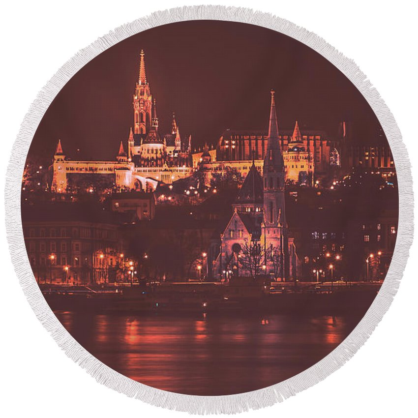 Budapest Round Beach Towel featuring the photograph Lights Of Budapest by Pixabay