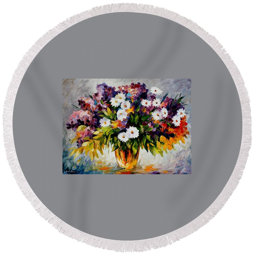 Afremov Round Beach Towel featuring the painting Lilac And Camomiles by Leonid Afremov