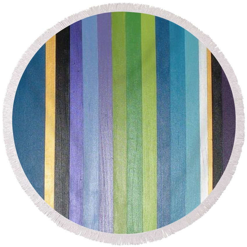 Purple Round Beach Towel featuring the painting Linea by Maria Bonnier-Perez